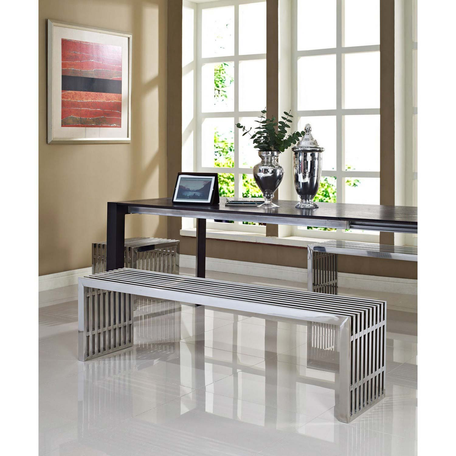 Modway Gridiron Benches Set of 3 - Silver