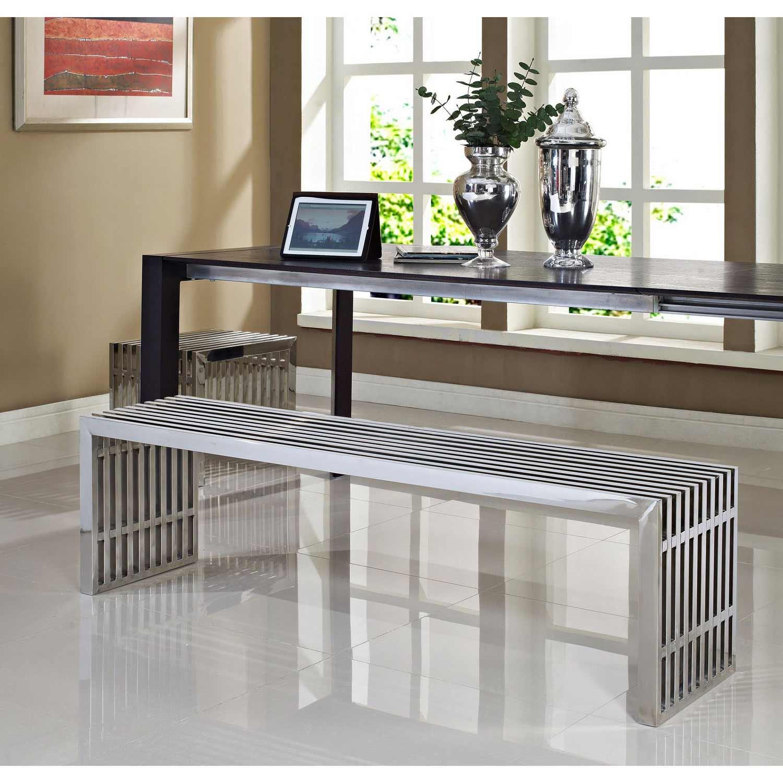 Modway Gridiron Benches Set of 2 - Silver