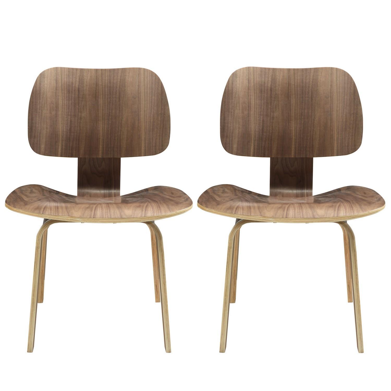 Modway Fathom Dining Chairs Set of 2 - Walnut