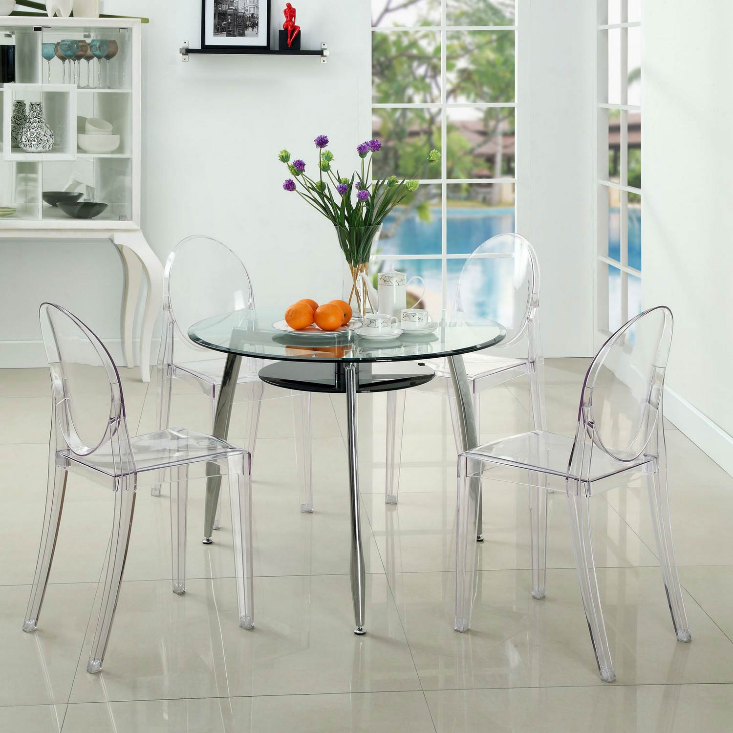 Modway Casper Dining Chairs Set of 4 - Clear