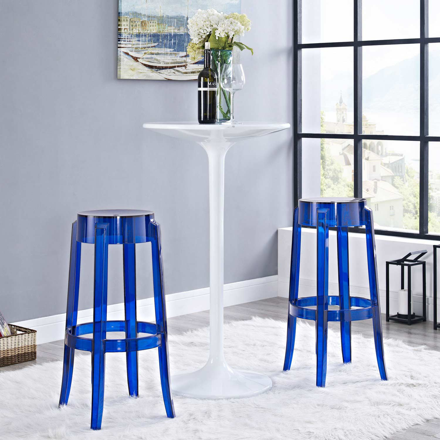 Modway Casper Bar Stool Set Of 2 Blue Mw Eei 909 Blu At