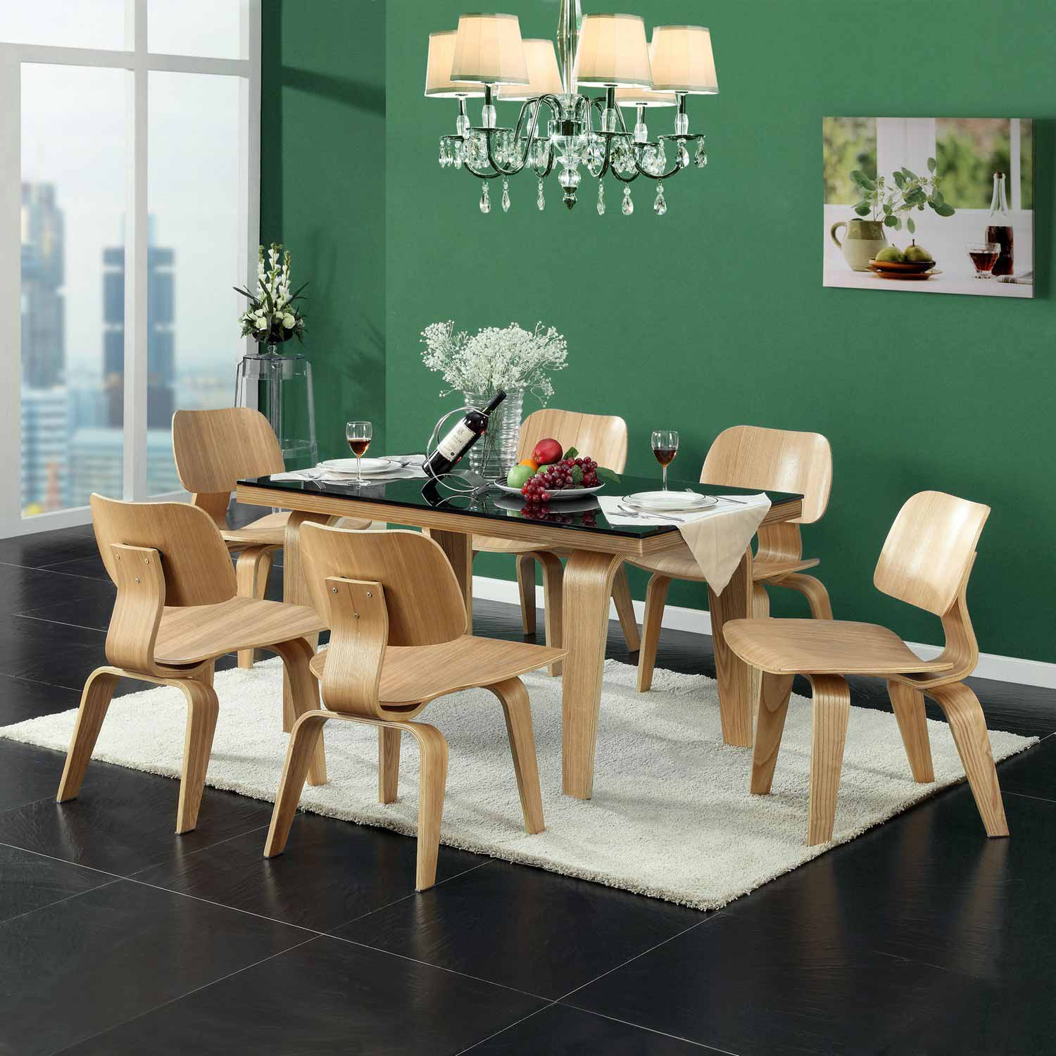 Modway Fathom Dining Chairs Set of 6 - Tan