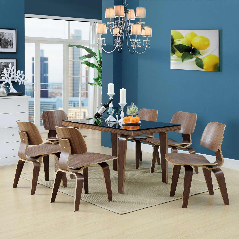 Modway Fathom Dining Chairs Set of 6 - Walnut