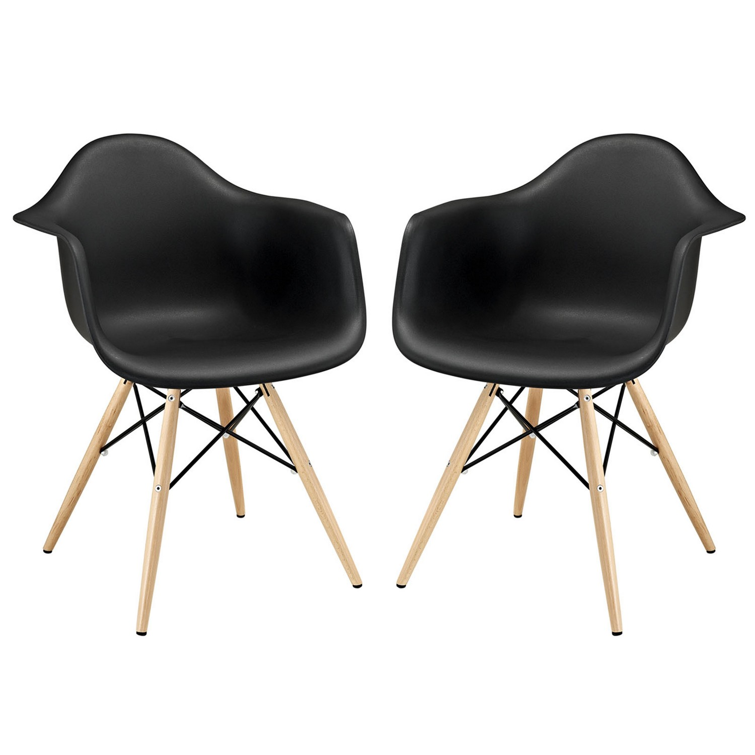 Modway Pyramid Dining Armchair Set of 2 - Black