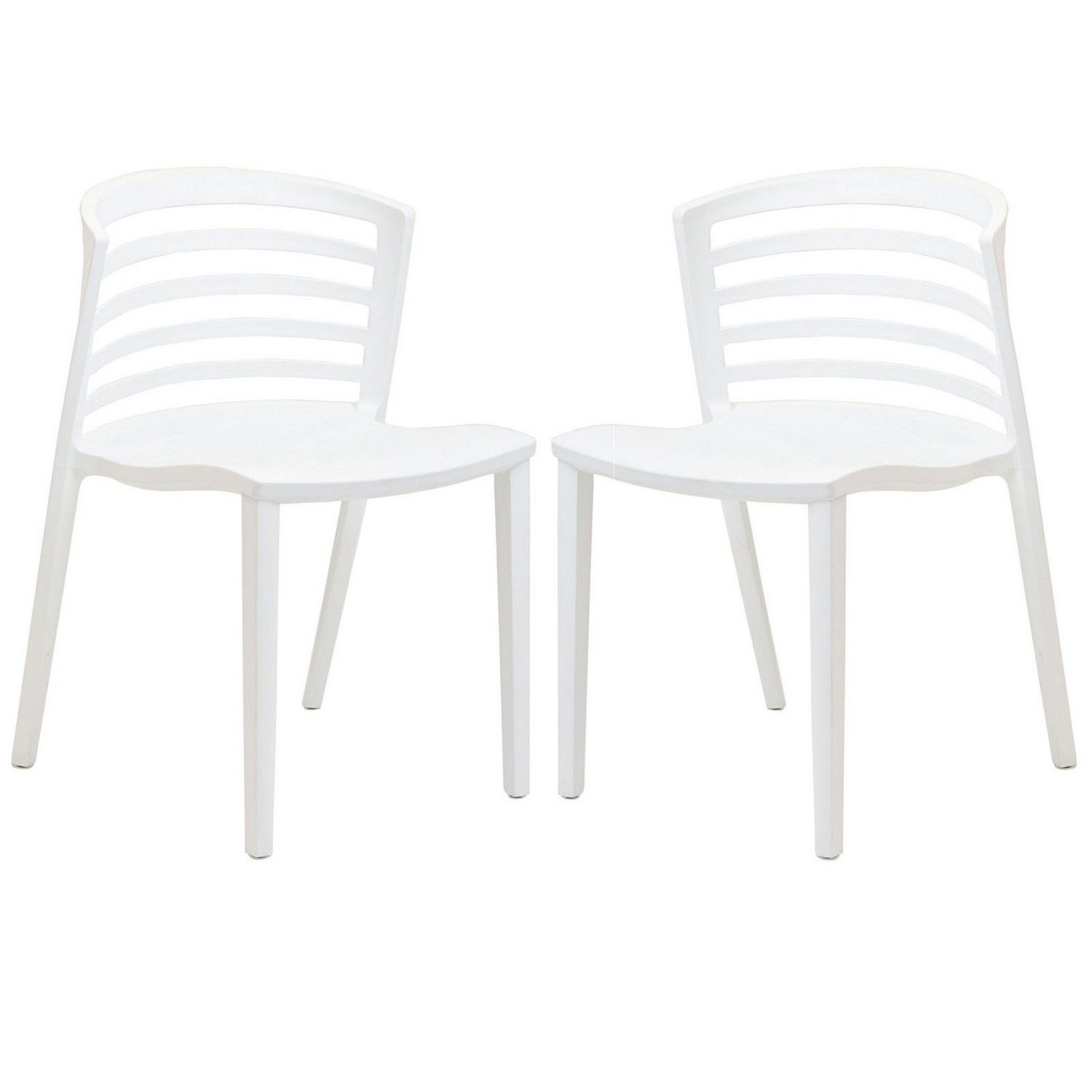 Modway Curvy Dining Chairs Set of 2 - White