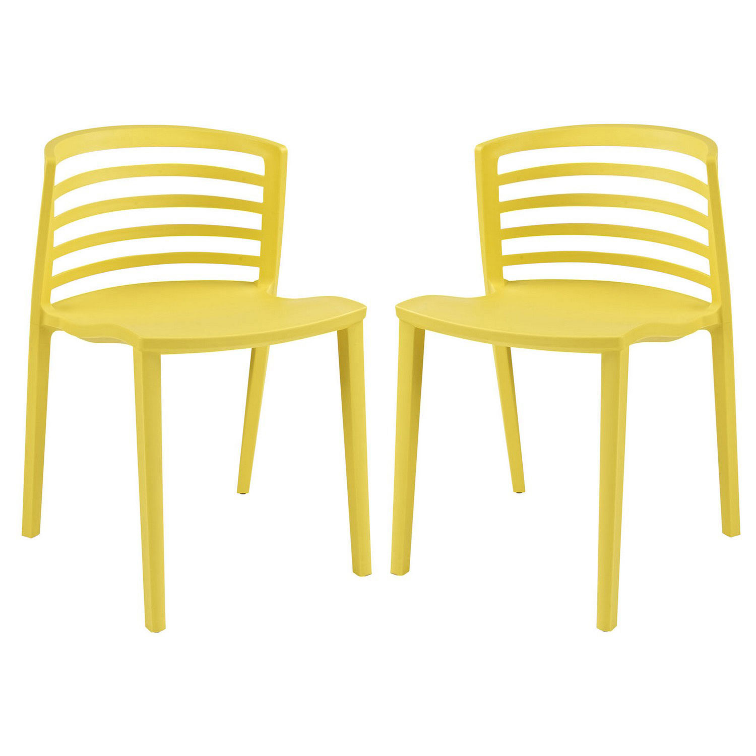 Modway Curvy Dining Chairs Set of 2 - Yellow