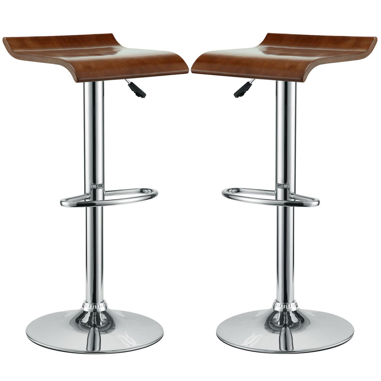 Modway Bentwood Bar Stool Set of 2 - Oak