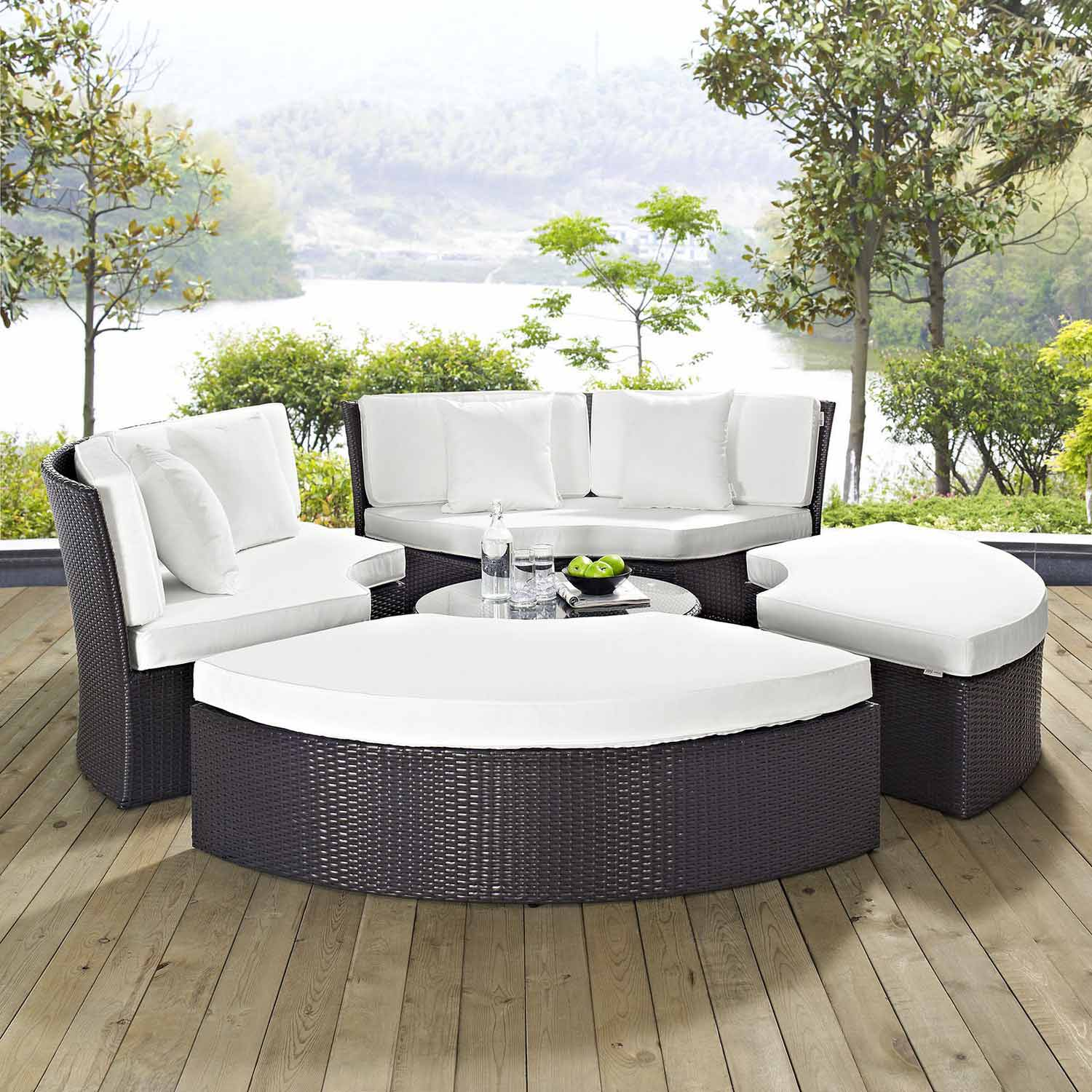 modway pursuit circular outdoor patio daybed set espresso white mw eei 956 exp whi set at. Black Bedroom Furniture Sets. Home Design Ideas