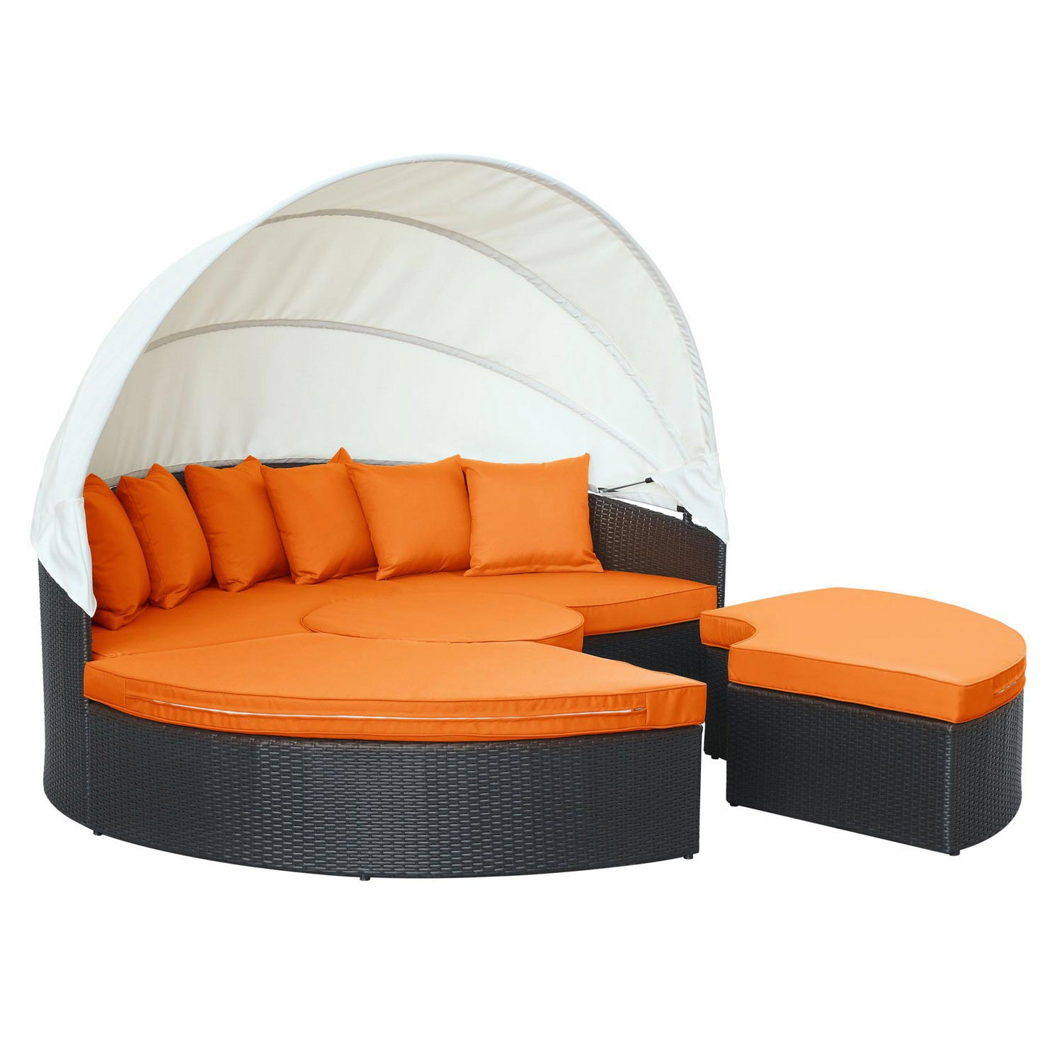 Modway Convene Canopy Outdoor Patio Daybed - Espresso/Orange