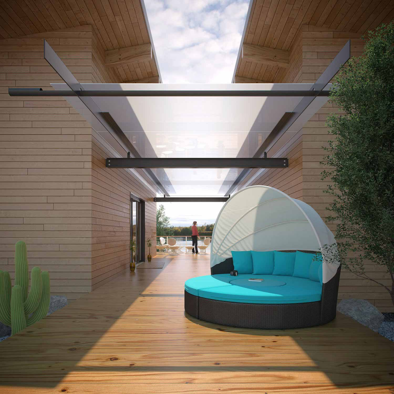 Modway Convene Canopy Outdoor Patio Daybed - Espresso/Turquoise