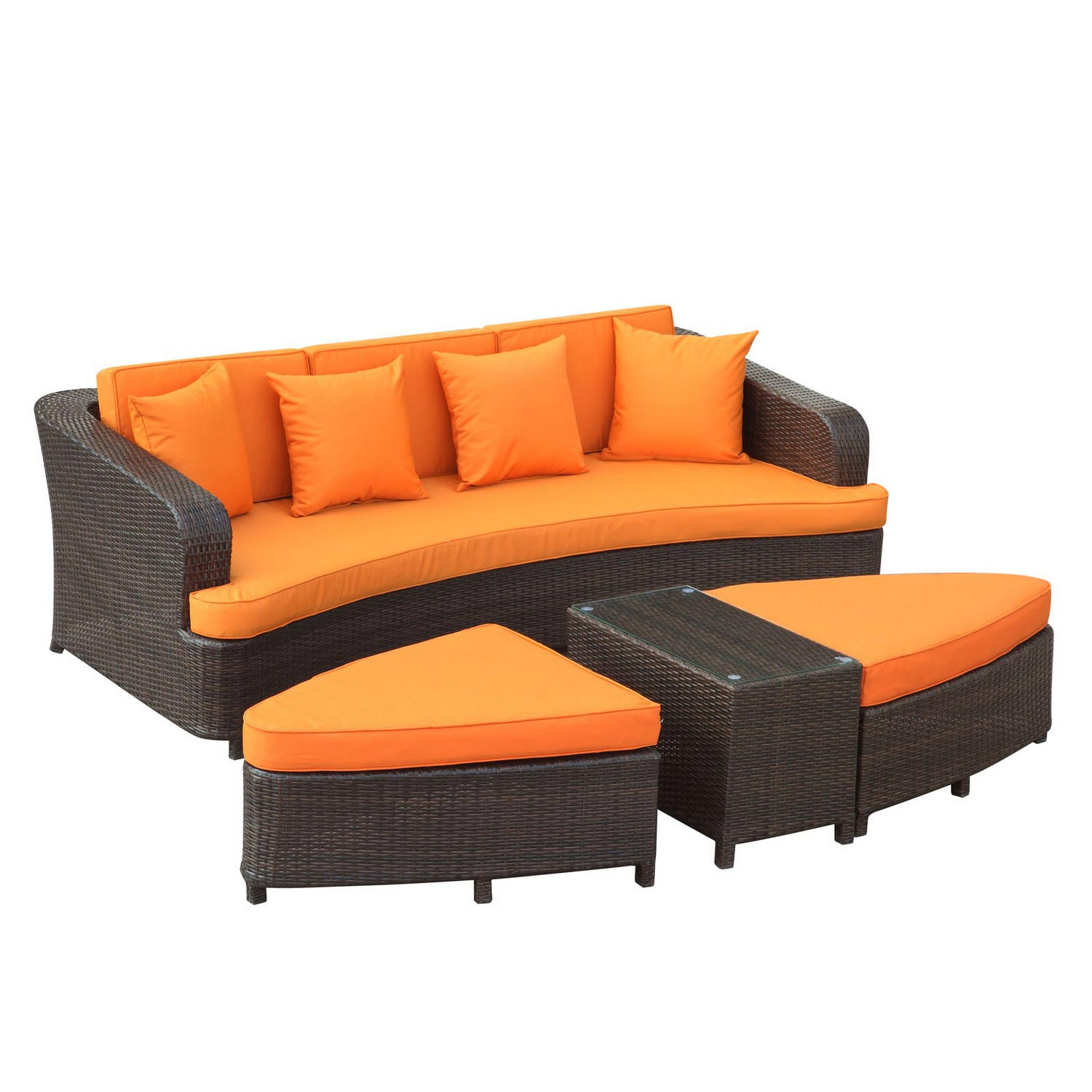 Modway Monterey 4 Piece Outdoor Patio Sofa Set - Brown/Orange