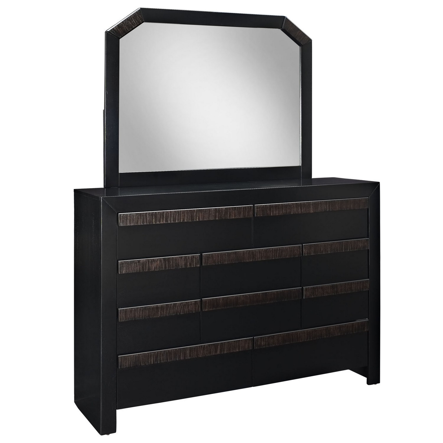 Modway Tommy Wood Dresser and Mirror - Black