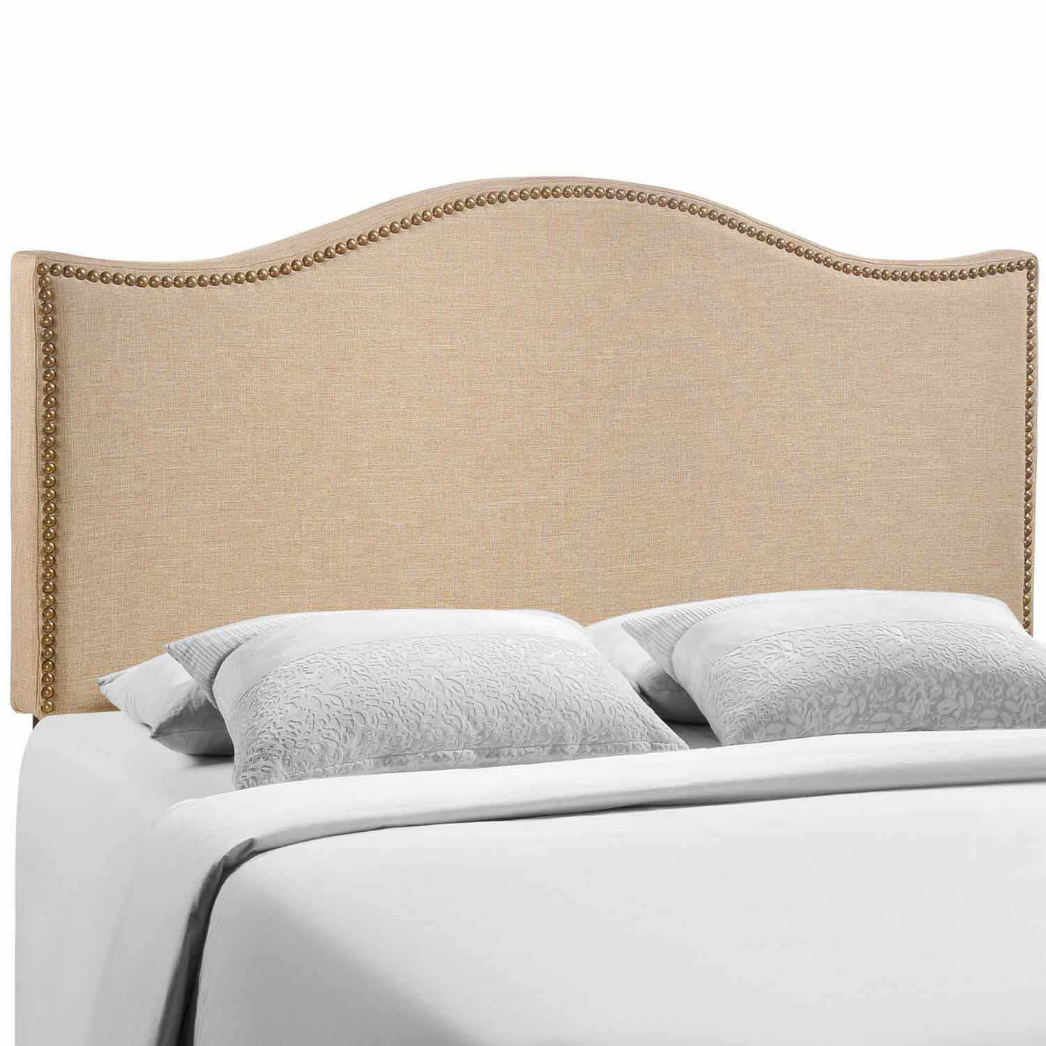 Modway Curl Queen Nailhead Upholstered Headboard - Cafe