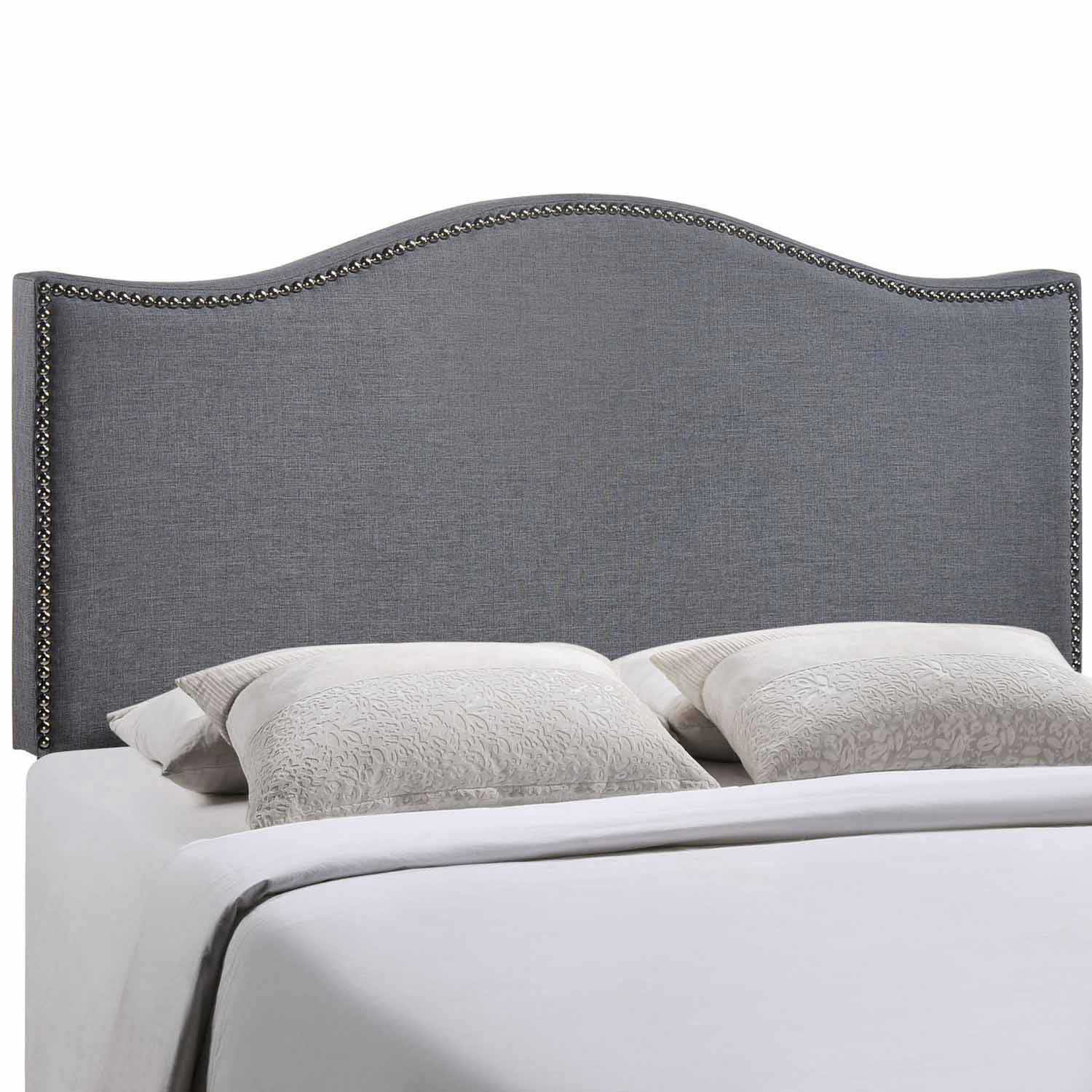 Modway Curl Queen Nailhead Upholstered Headboard - Smoke