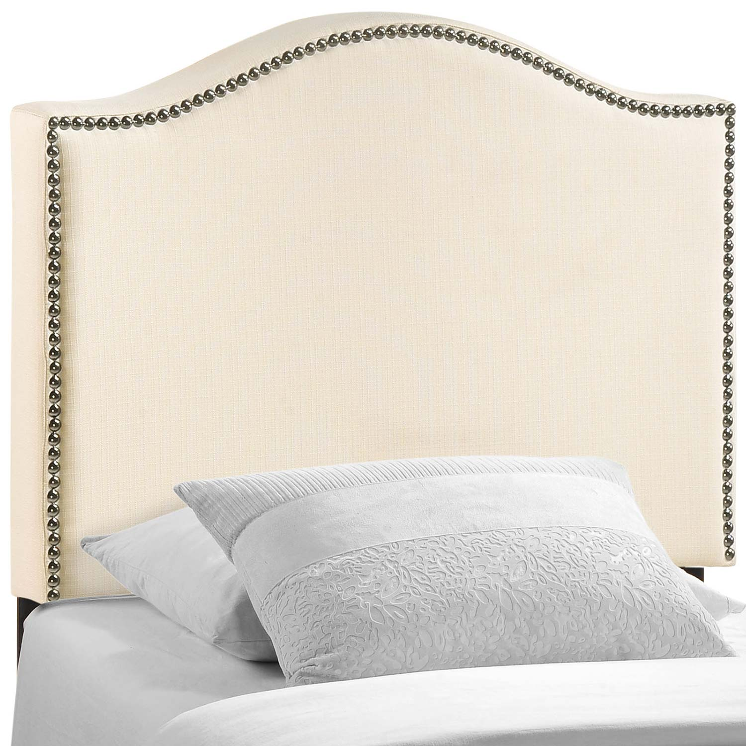 Modway Curl Nailhead Upholstered Headboard - Ivory