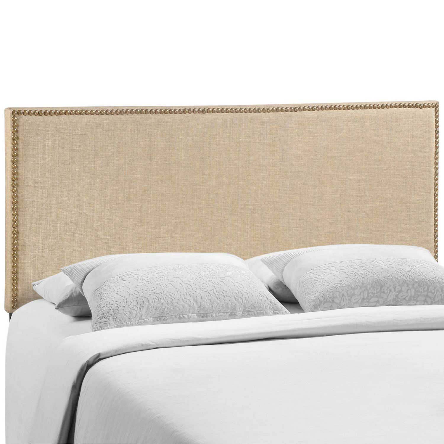 Modway Region Queen Nailhead Upholstered Headboard - Cafe
