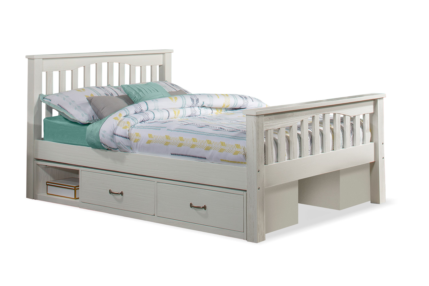 NE Kids Highlands Harper Bed with (2) Storage Units - White