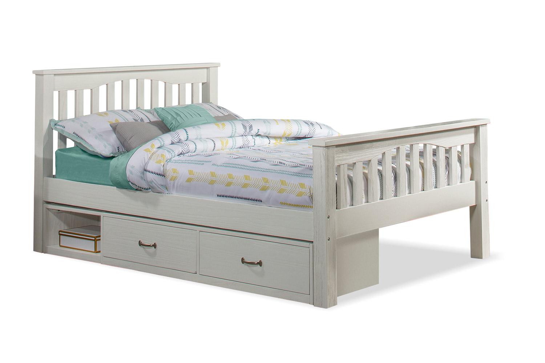 NE Kids Highlands Harper Bed with Storage Unit - White