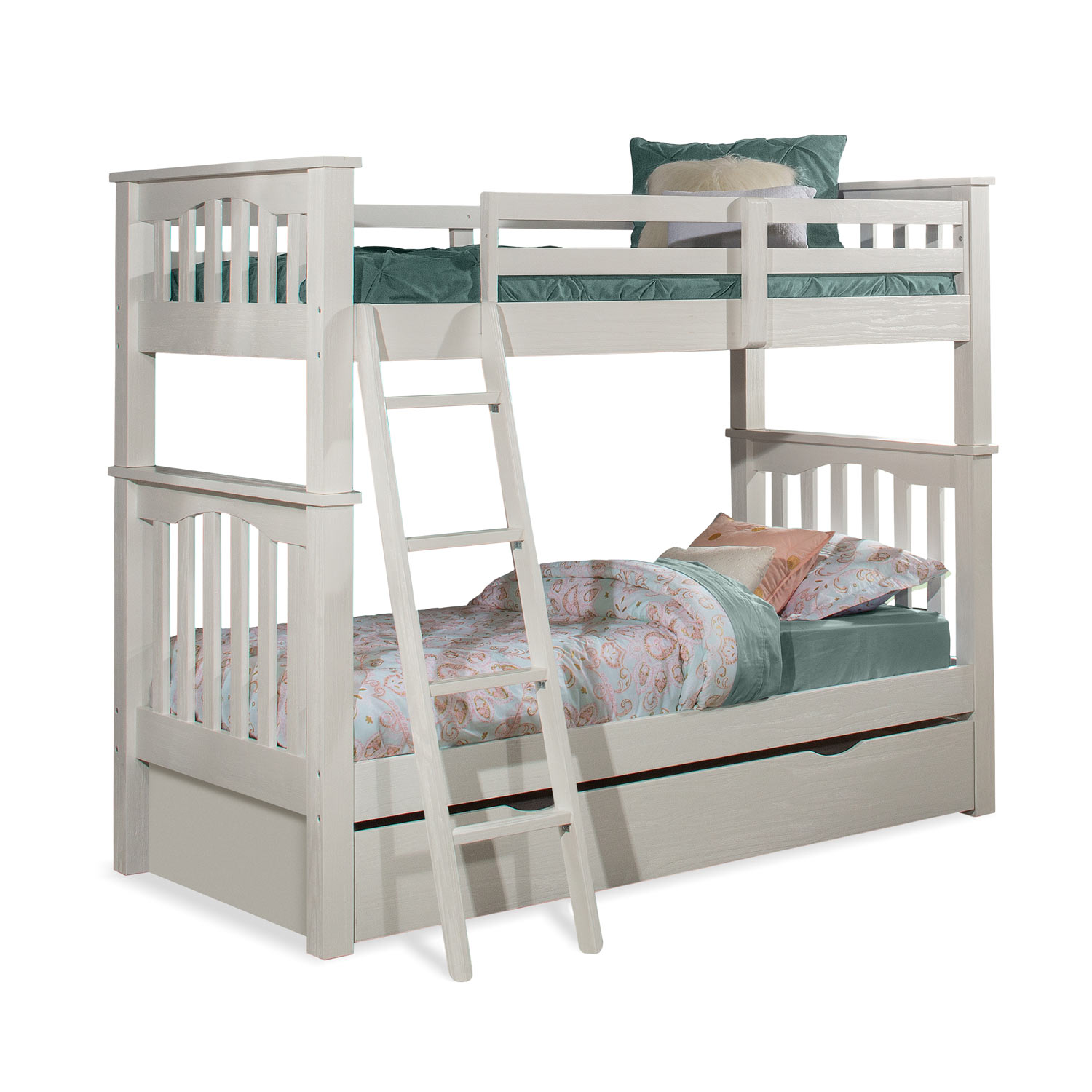 NE Kids Highlands Harper Twin/Twin Bunk Bed with Trundle - White Finish