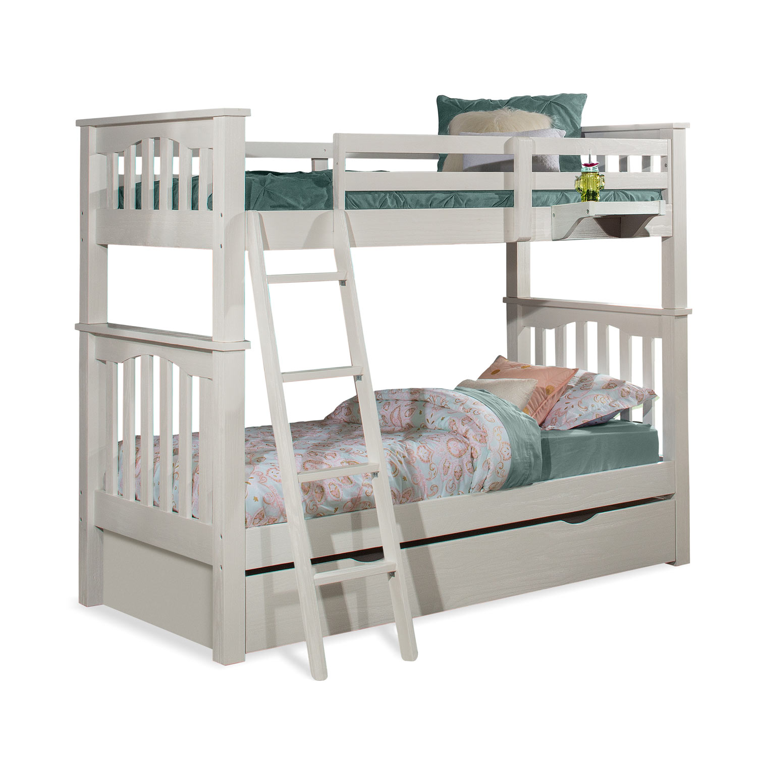 NE Kids Highlands Harper Twin/Twin Bunk Bed with Trundle and Hanging Nightstand - White Finish