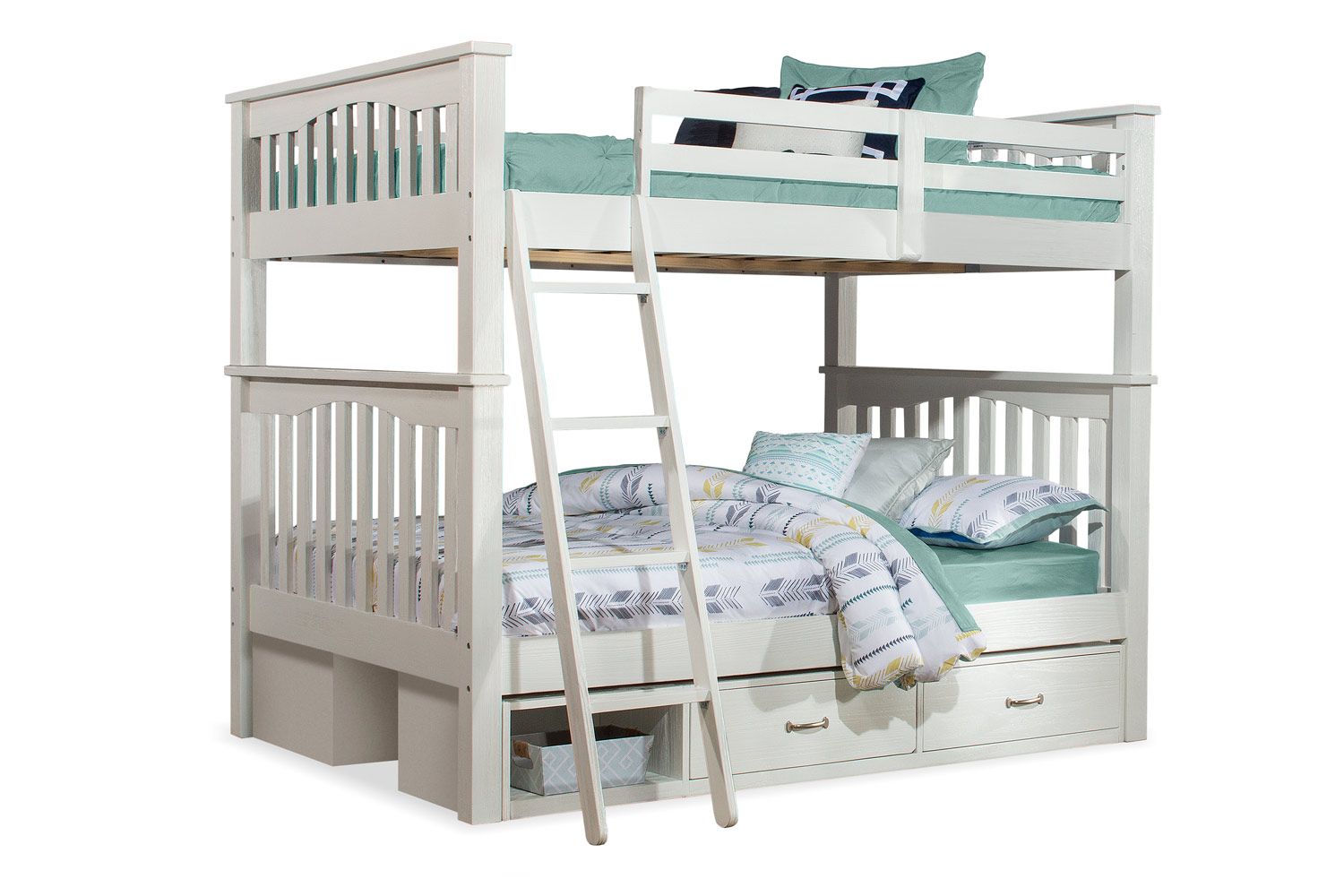 NE Kids Highlands Harper Full/Full Bunk Bed with (2) Storage Units - White Finish