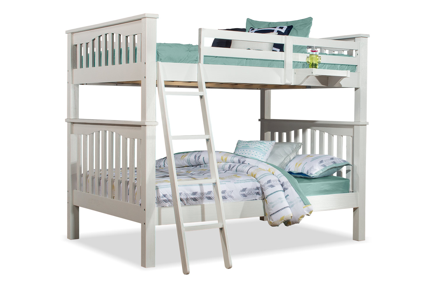 NE Kids Highlands Harper Full/Full Bunk Bed and Hanging Nightstand - White Finish