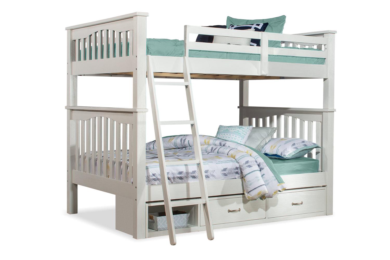 NE Kids Highlands Harper Full/Full Bunk Bed with Storage Unit - White Finish