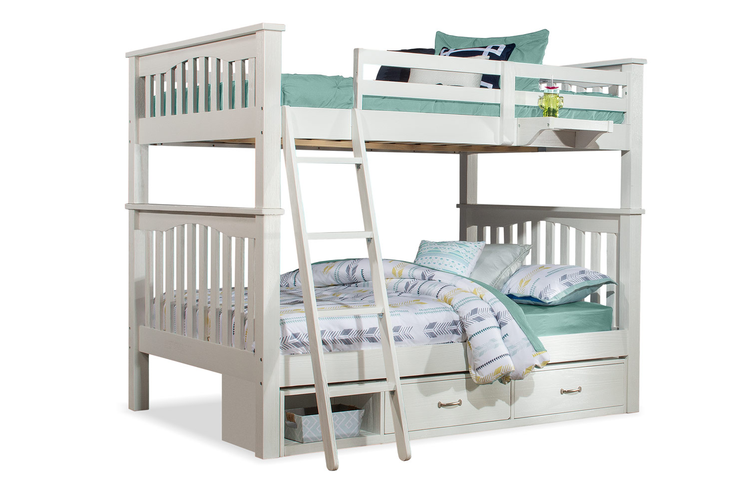 NE Kids Highlands Harper Full/Full Bunk Bed with Storage Unit and Hanging Nightstand - White Finish