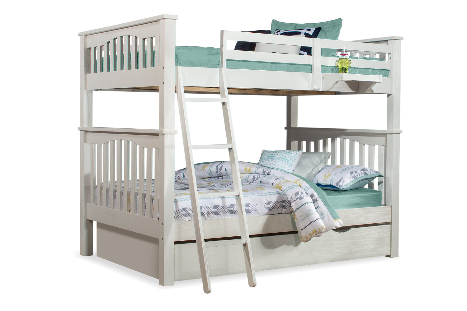 NE Kids Highlands Harper Full/Full Bunk Bed with Trundle and Hanging Nightstand - White Finish