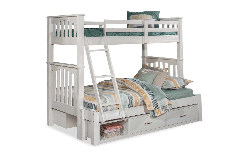 NE Kids Highlands Harper Twin/Full Bunk Bed with (2) Storage Units - White Finish