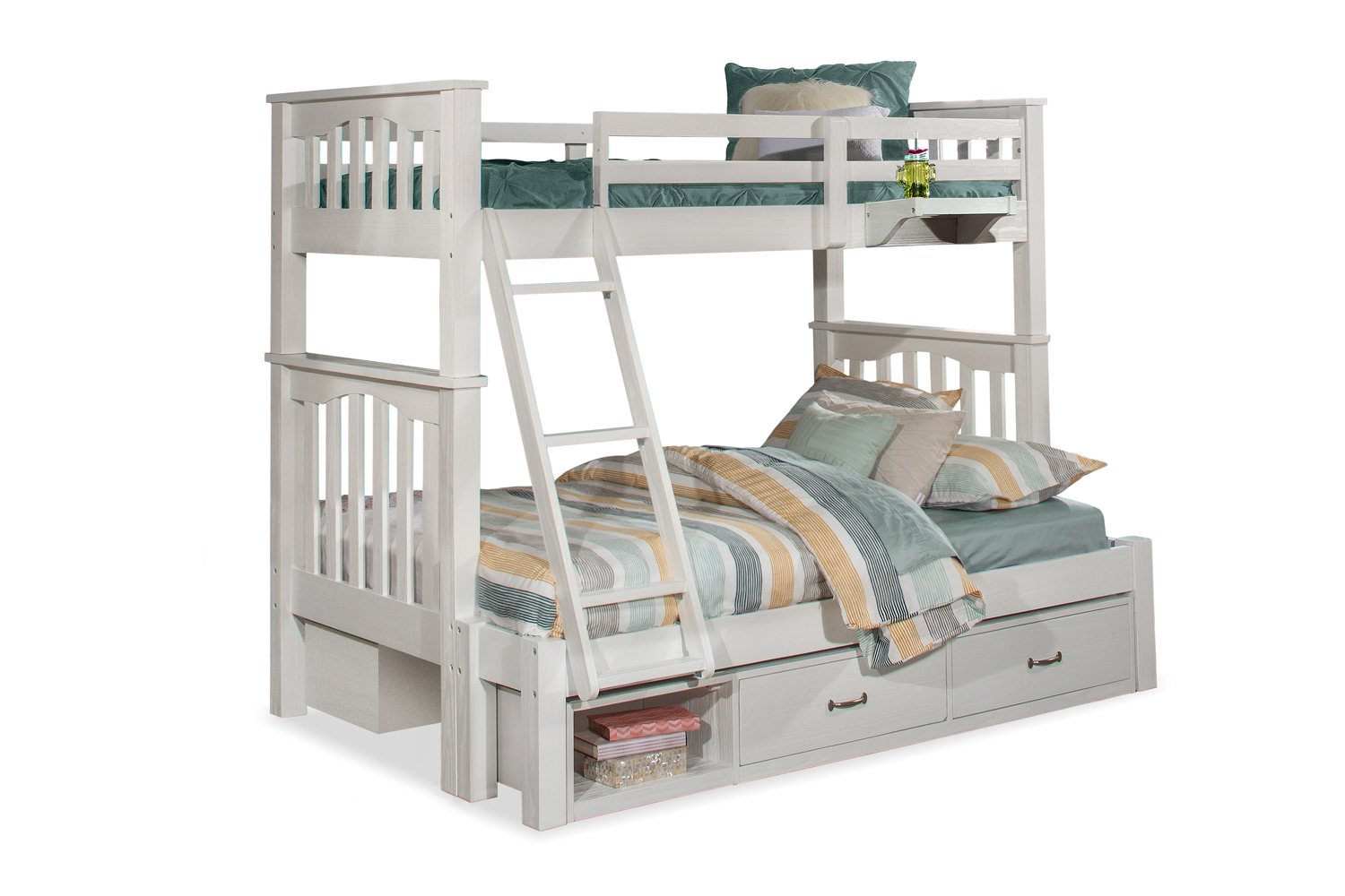 NE Kids Highlands Harper Twin/Full Bunk Bed with (2) Storage Units and Hanging Nightstand - White Finish