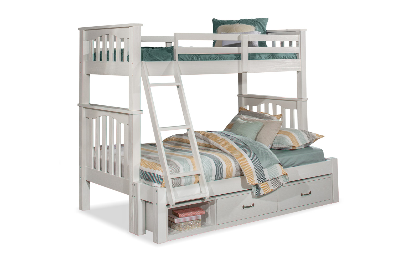 NE Kids Highlands Harper Twin/Full Bunk Bed with Storage Unit - White Finish