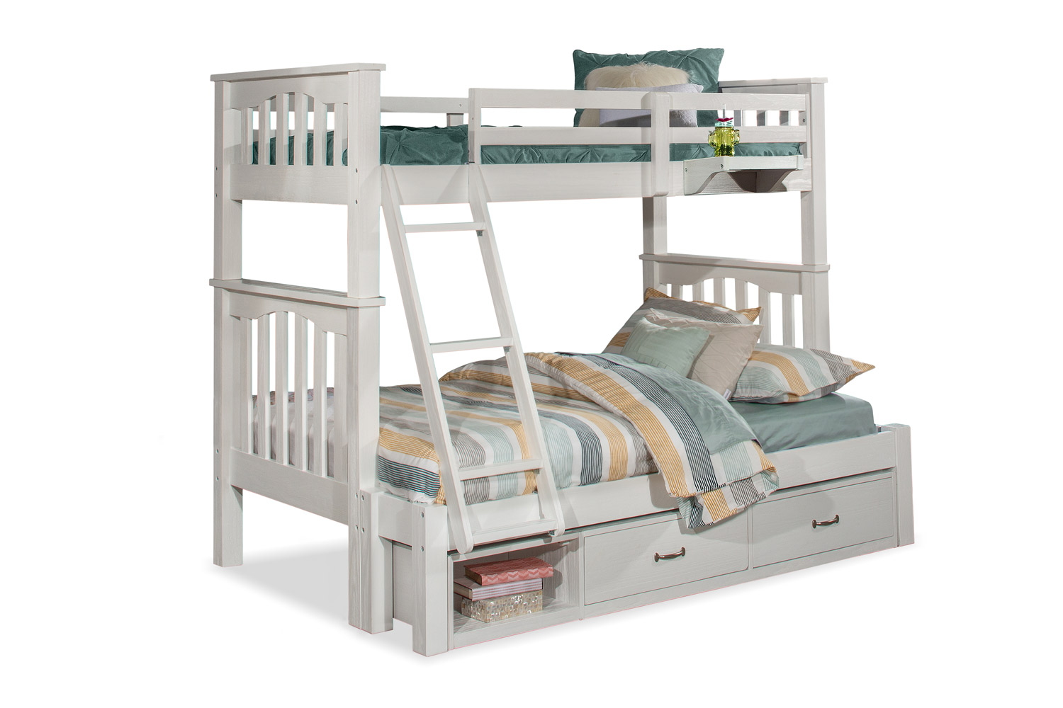 NE Kids Highlands Harper Twin/Full Bunk Bed with Storage Unit and Hanging Nightstand - White Finish