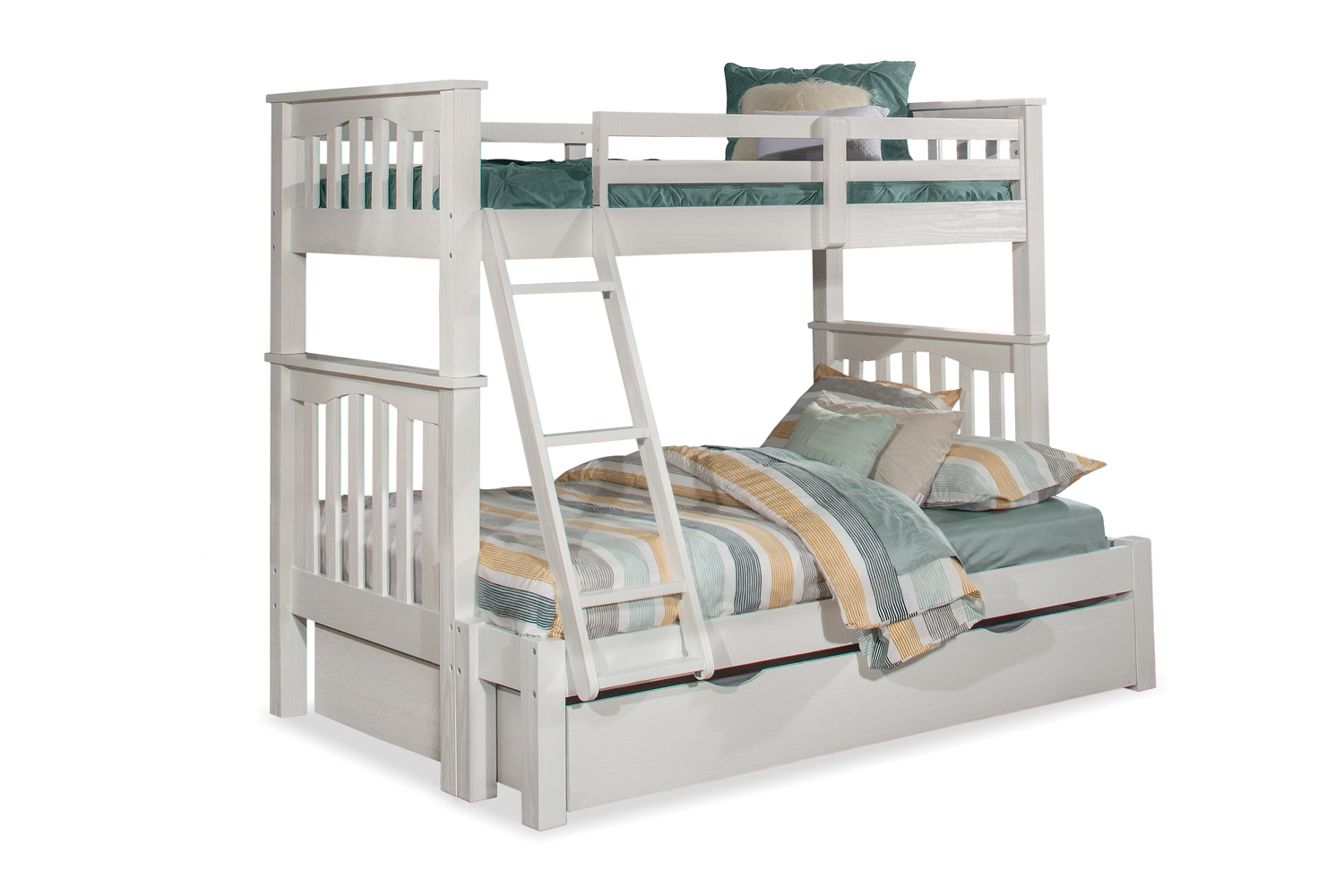 NE Kids Highlands Harper Twin/Full Bunk Bed with Trundle - White Finish