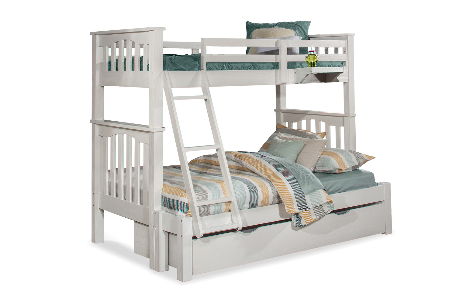 NE Kids Highlands Harper Twin/Full Bunk Bed with Trundle and Hanging Nightstand - White Finish