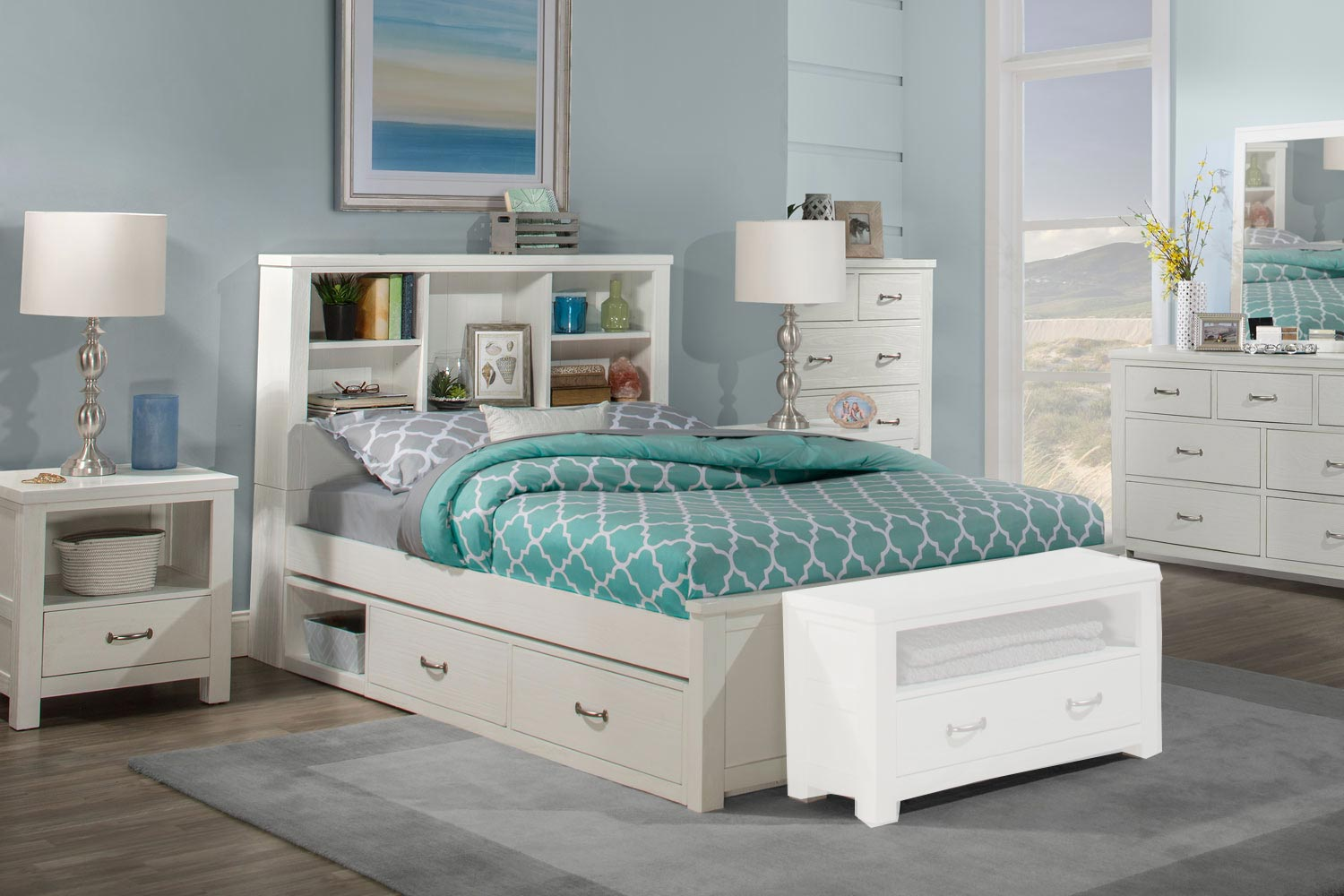 NE Kids Highlands Bookcase Bedroom Set with (2) Storage Units - White