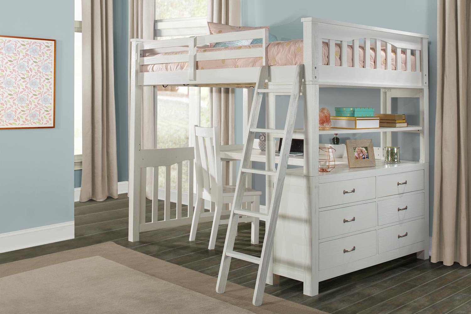 NE Kids Highlands Loft Bed with Desk and Chair - White