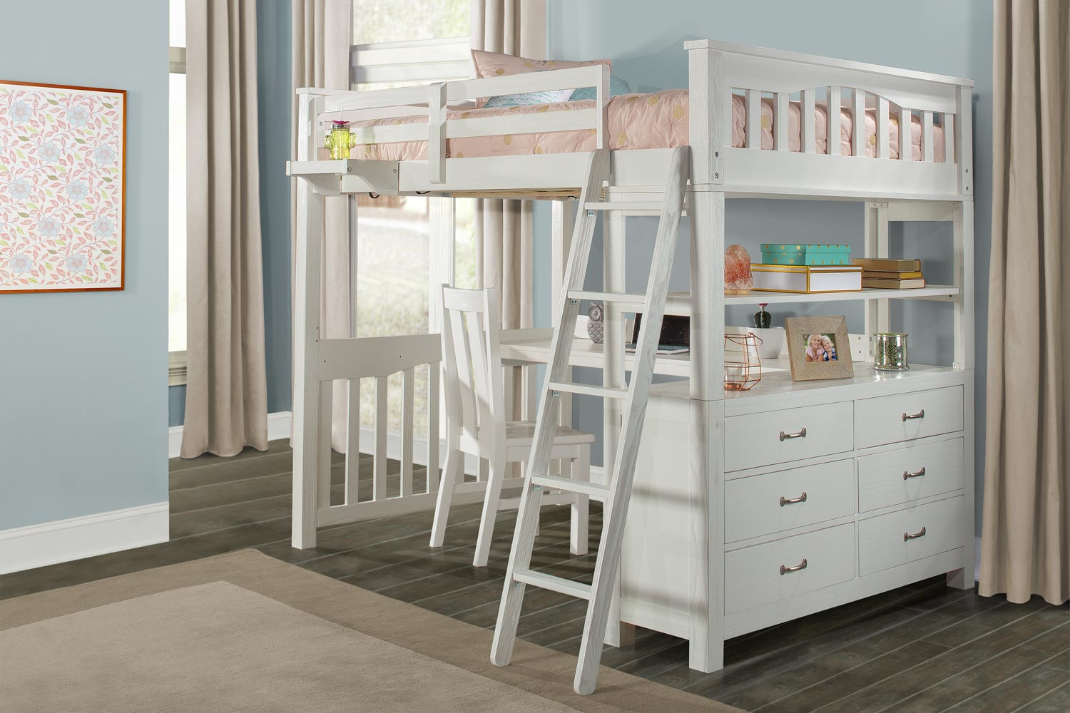 NE Kids Highlands Loft Bed with Desk and Chair and Hanging Nightstand - White