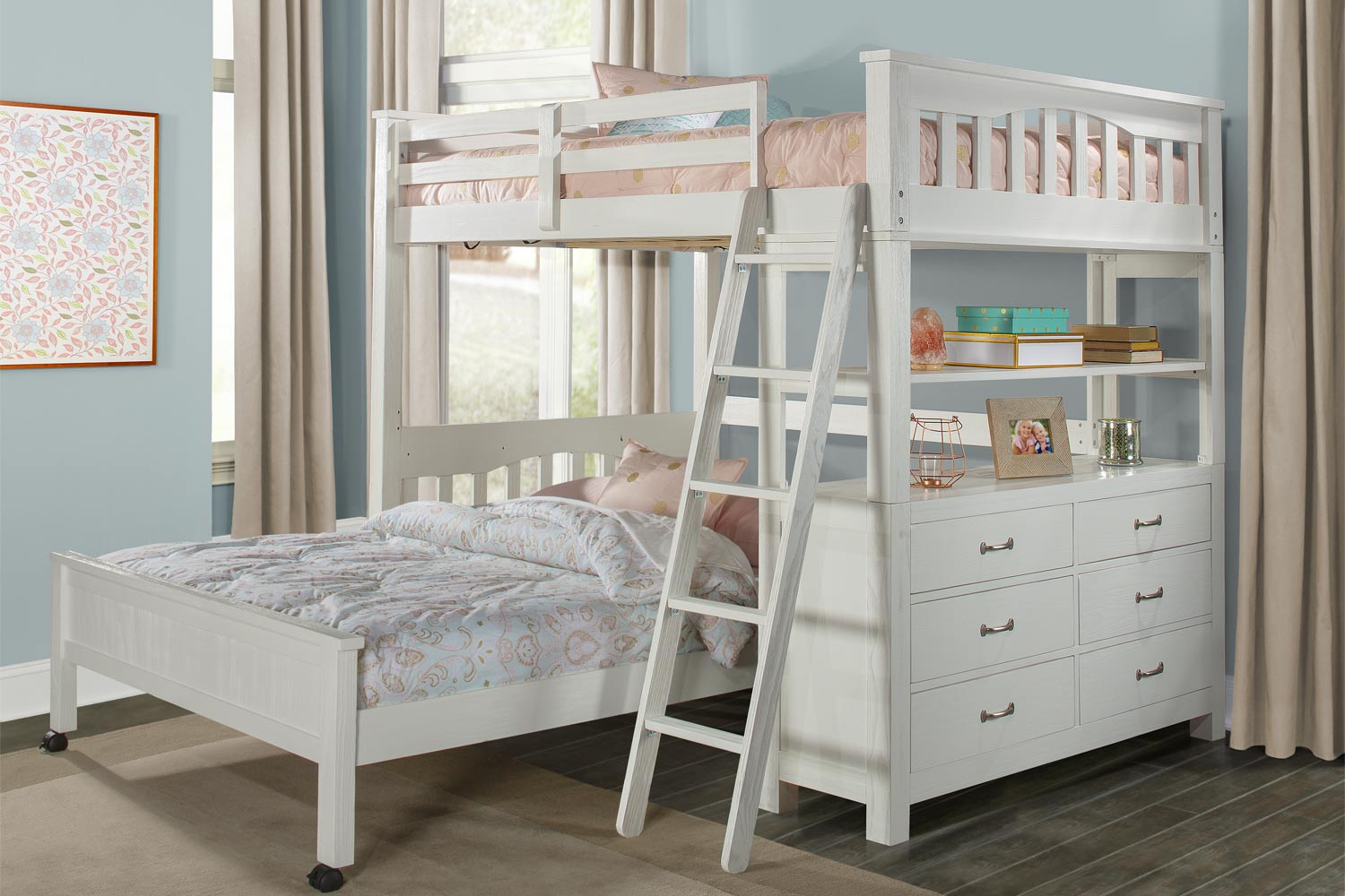NE Kids Highlands Loft Bed with Full Lower Bed - White