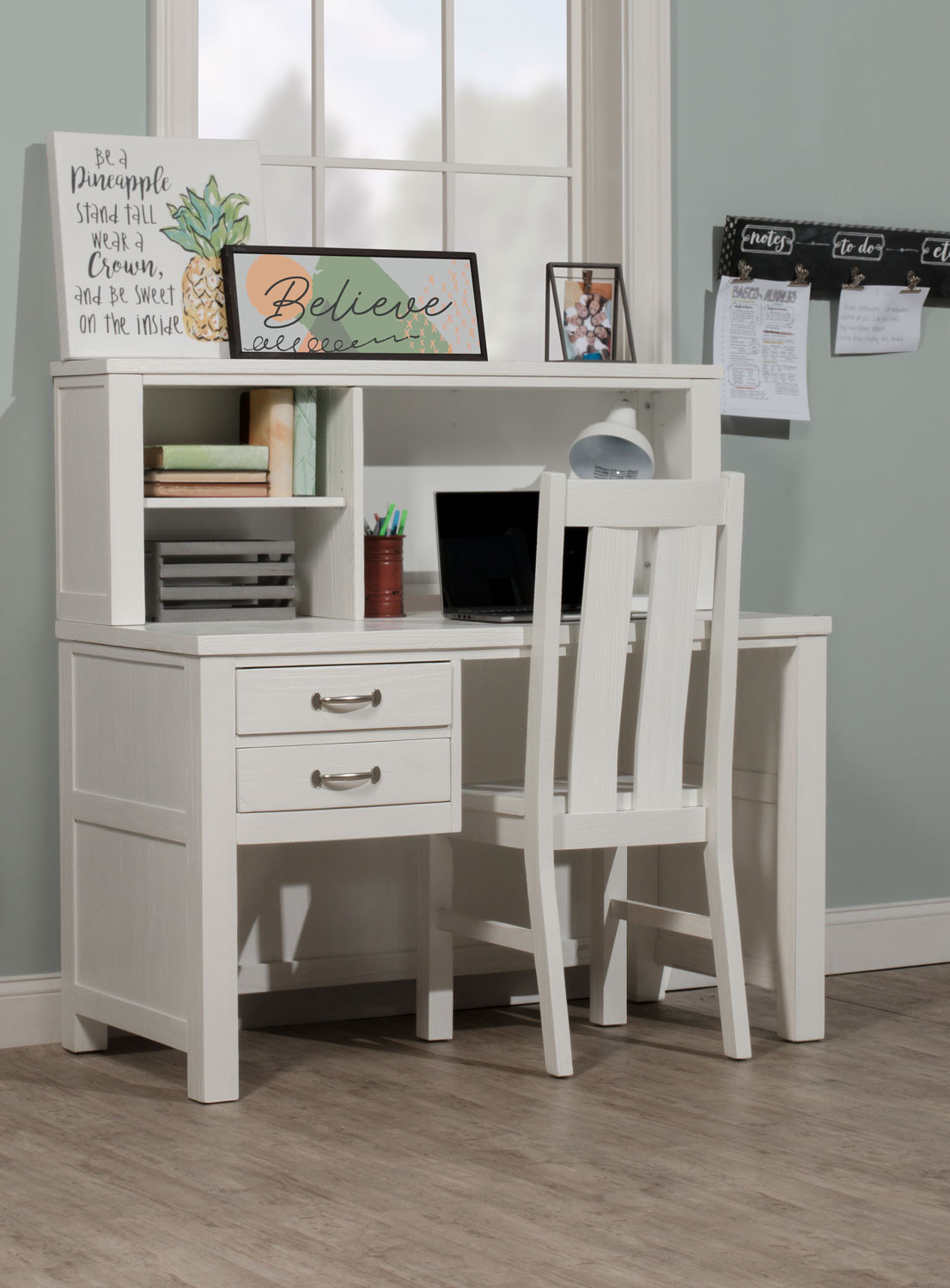 NE Kids Highlands Desk with Hutch and Chair - White Finish