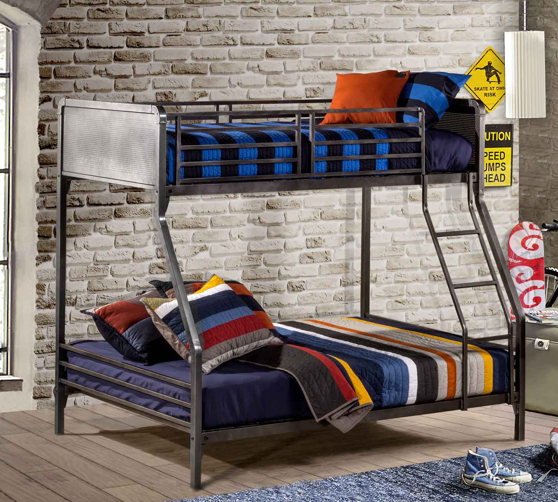 NE Kids Urban Quarters Twin/Full Bunk Bed - Black Steel