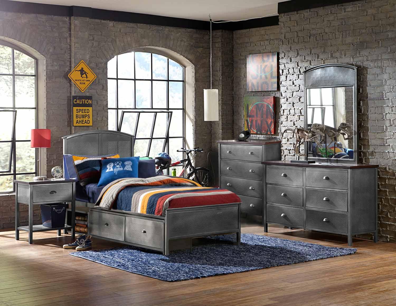 NE Kids Urban Quarters Panel Storage Bedroom Set - Black Steel