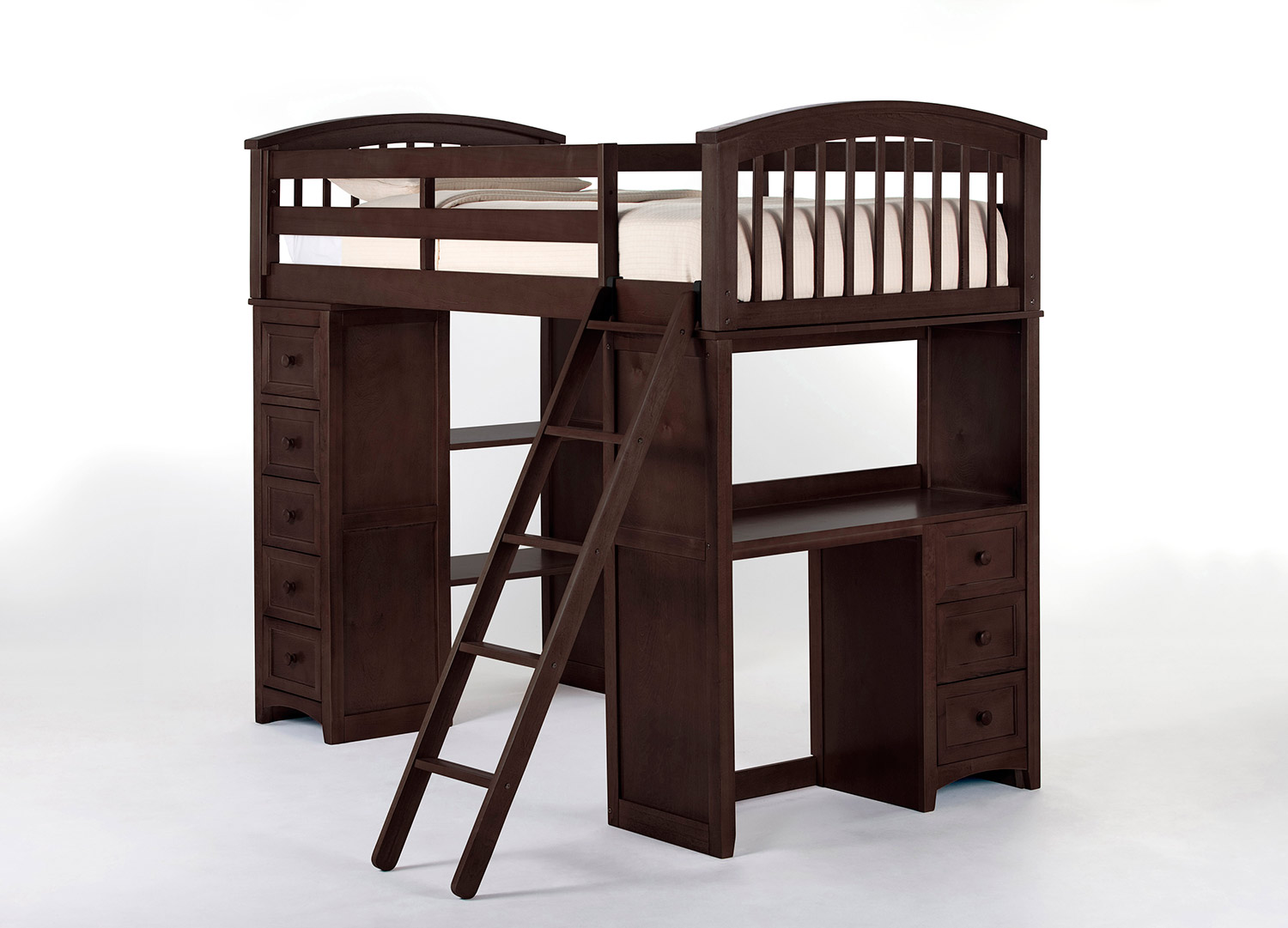 NE Kids School House Student Loft Bed - Chocolate