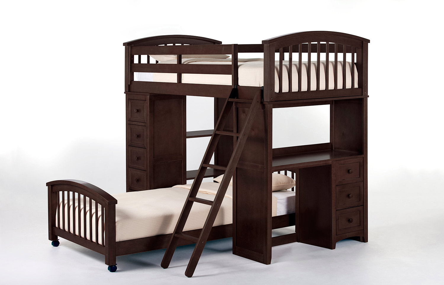 NE Kids SchoolHouse Student Loft Bed with Twin Lower Bed - Chocolate