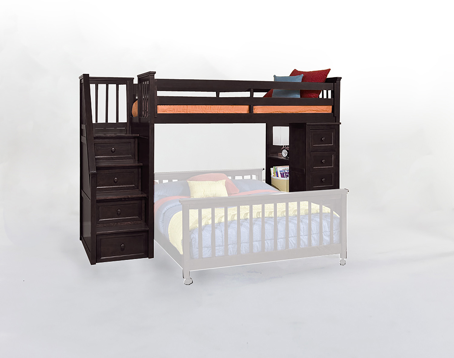 NE Kids School House Stair Loft Bed with Chest End - Chocolate