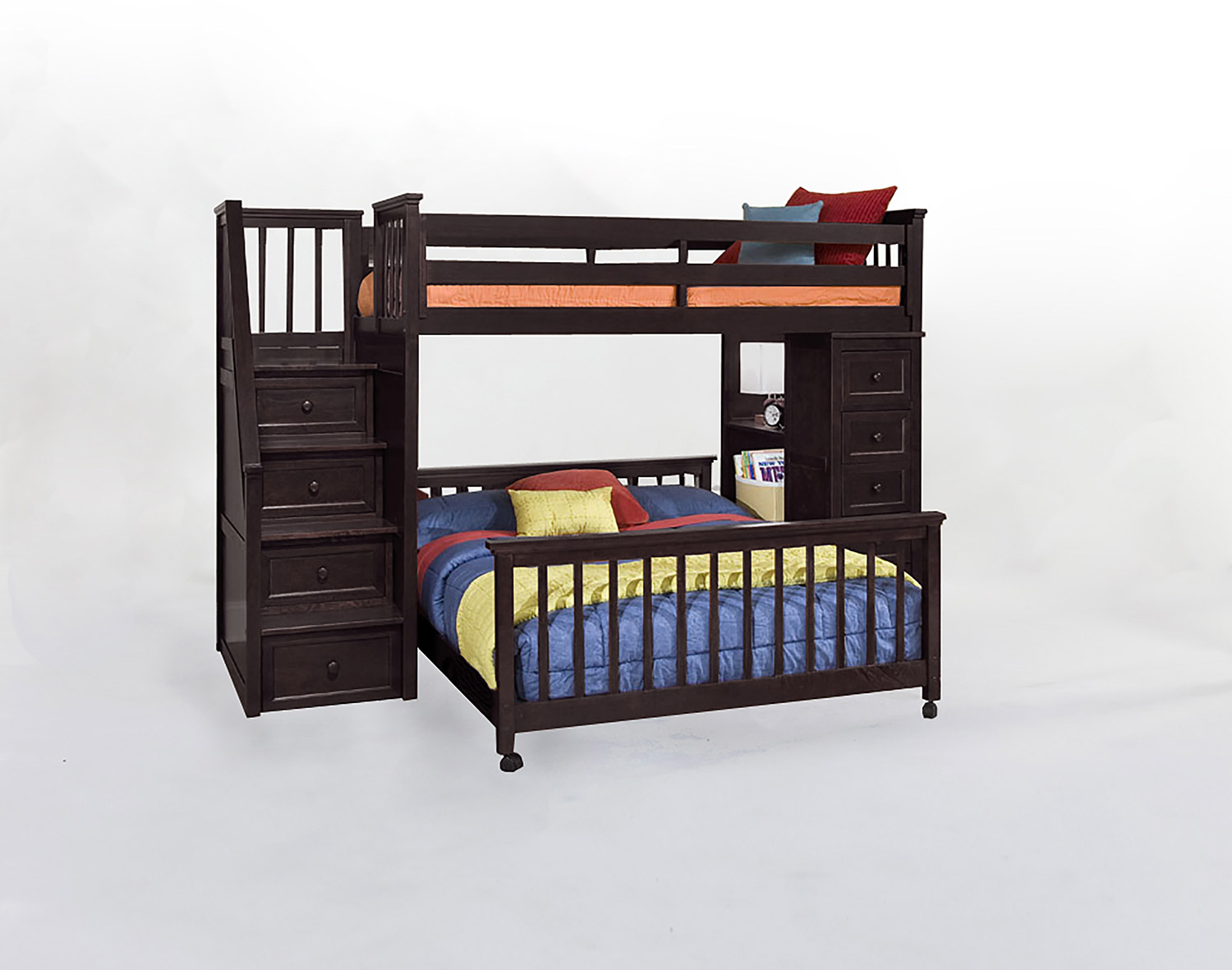 NE Kids SchoolHouse Twin Stair Loft Bed with Chest End and Twin Lower Bed - Chocolate