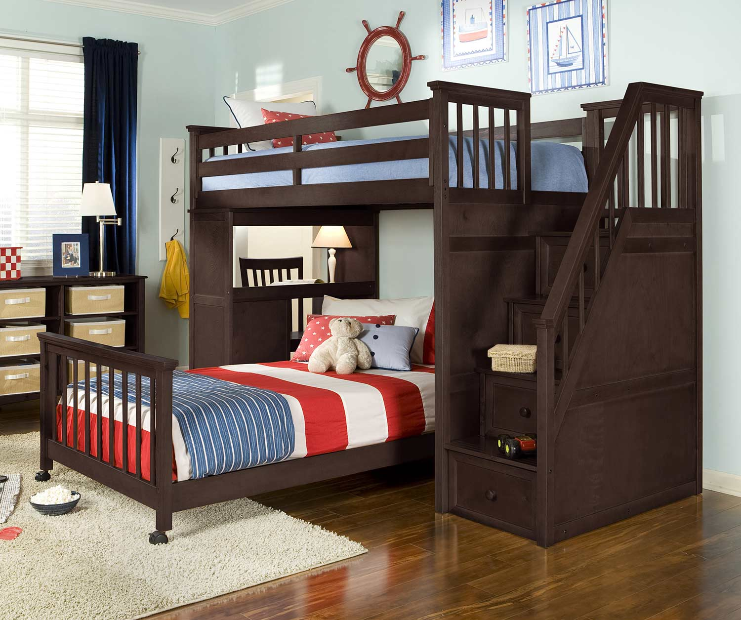 NE Kids SchoolHouse Twin Stair Loft Bed with Desk End and Full Lower Bed - Chocolate
