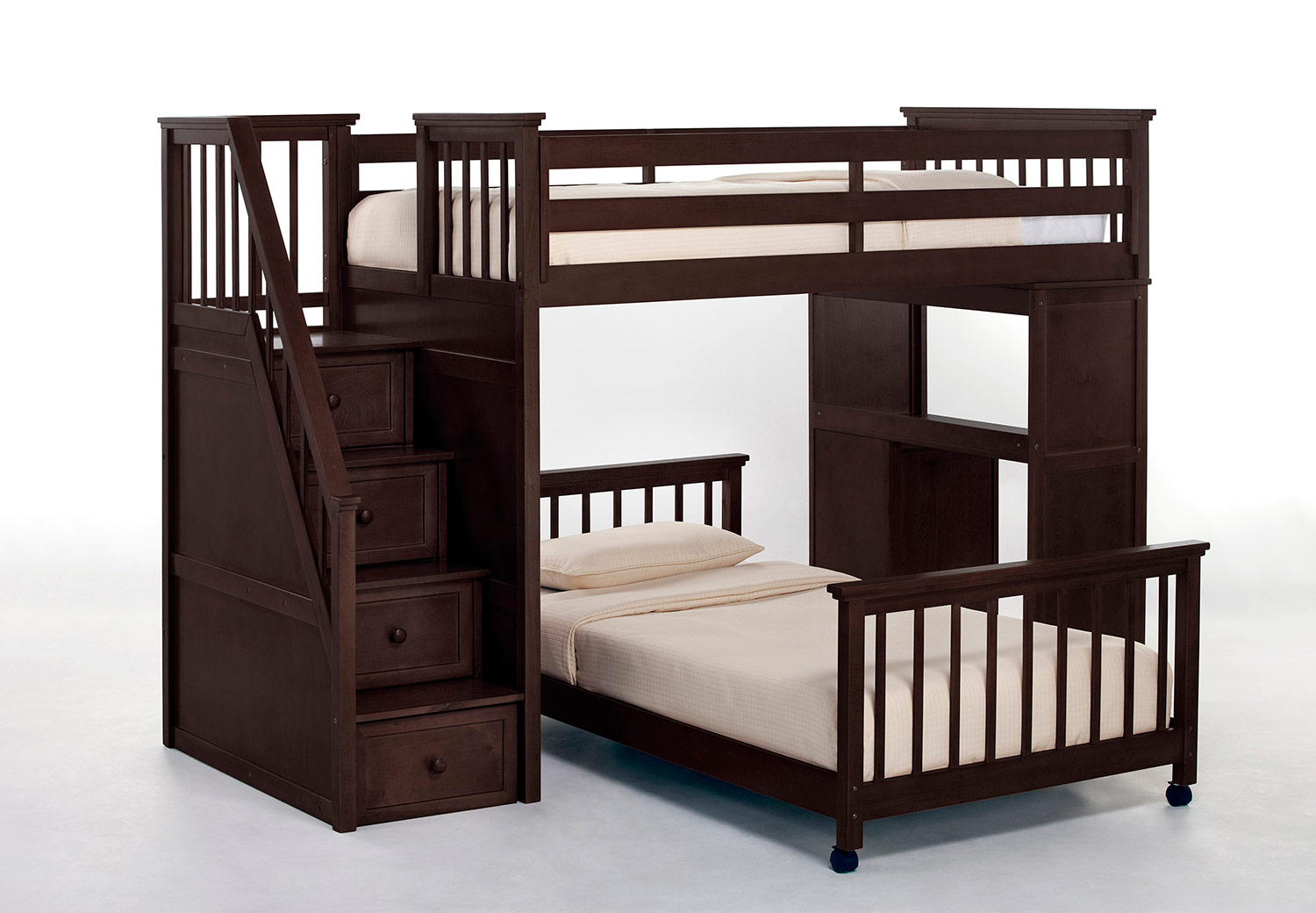 NE Kids School House Twin Stair Loft Bed with Desk End and Twin Lower Bed - Chocolate