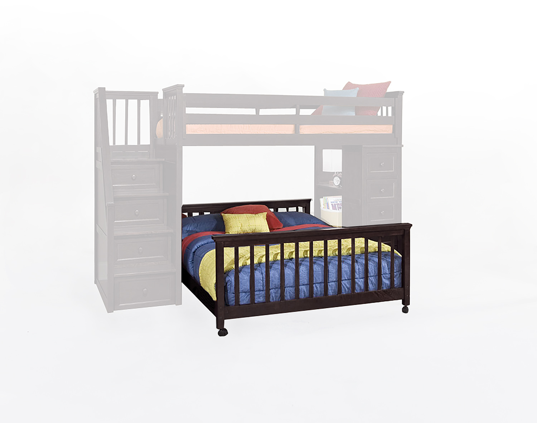 NE Kids SchoolHouse Full Lower Stair Bed - Chocolate