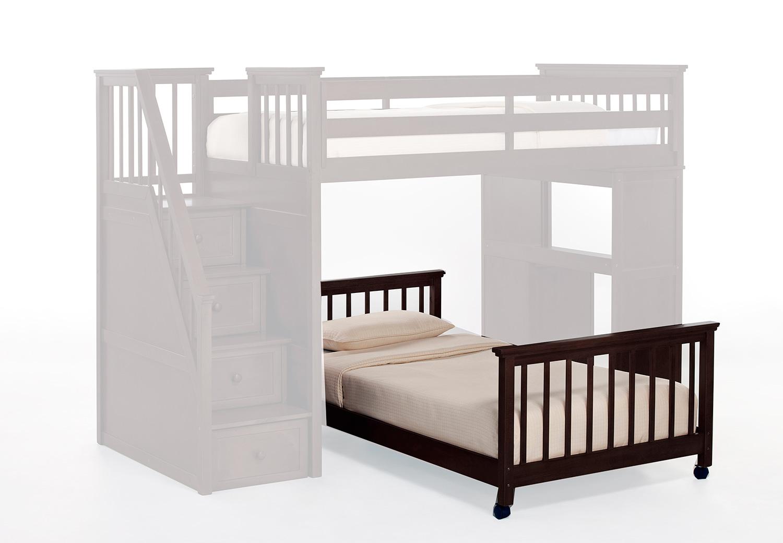 NE Kids SchoolHouse Twin Lower Stair Bed - Chocolate